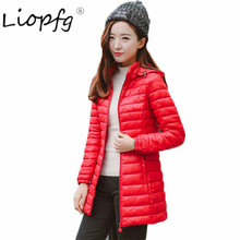 2017 spring new jacket fashion in the long section of large size thin section Slim down cotton women 3387