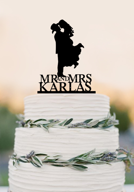 Country Western Wedding Cake Topper Silhouette Cowboy With