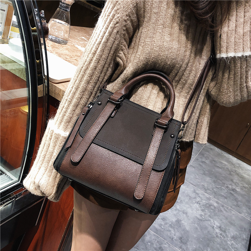Tinkin PU leather women handbag vintage tote bag  panelled stone women shoulder bag messenger bag Lahore