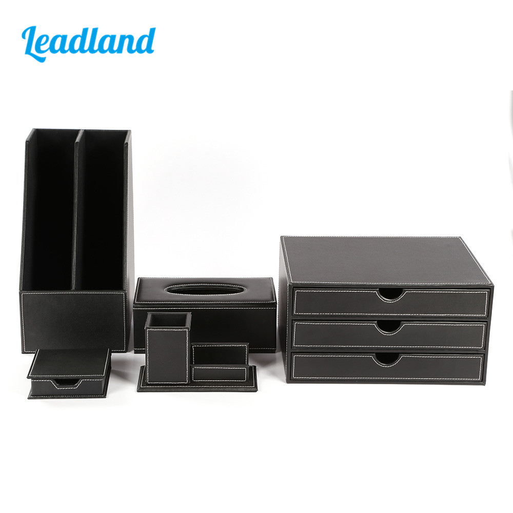 Quality Office Desk 5-piece Set Pen Pencil Holder Business Card Stand Stationery Organizer Box Tissue Dispenser T09 Black/Brown