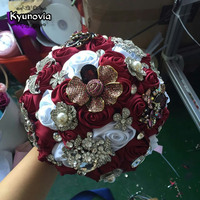 Kyunovia Silk Wedding Flowers Rhinestone Jewelry Wine Brooch Bouquet Gold Broach Bridal Wedding Dress Custom Wedding Bouquet D57