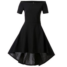 Vintage Women Midi Dresses Solid Color Bodycon Casual Short Sleeve Slash Neck Bow Evening Party Ball Swing Dress Vestidos(China)