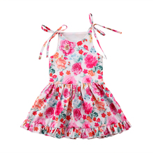 6M-5Y Toddler Kids Baby Girls Dress 2018 New Floral Sleevless Princess Dress For Girls Party holiday beach dress Summer Clothes
