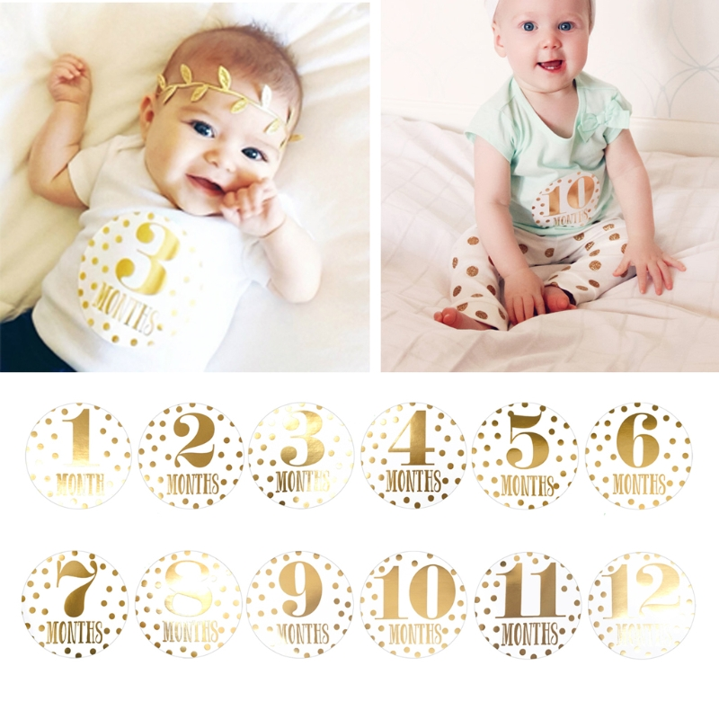 For Memory Baby Pregnant Women Monthly Photograph Sticker Fun Month 1-12 Milestone Stickers