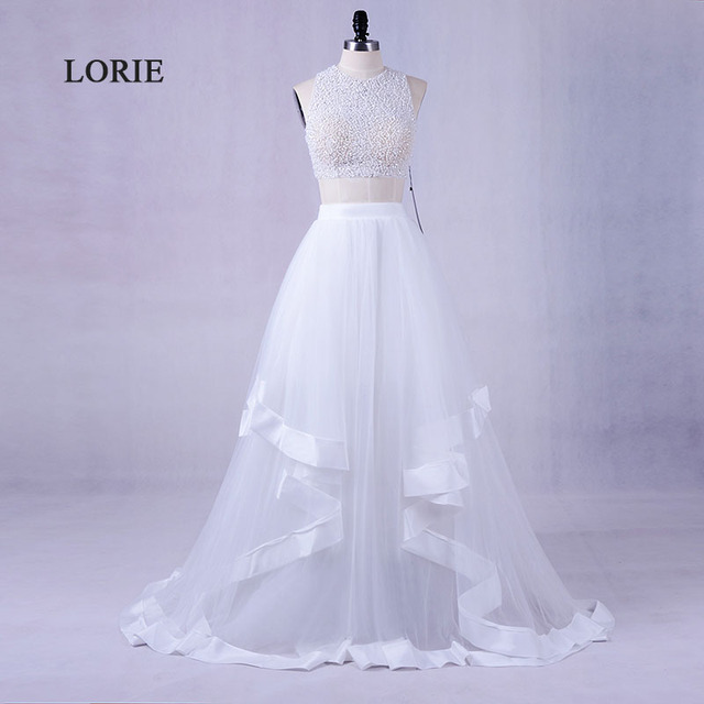 LORIE New Two Piece Prom Dress for Graduation O-Neck Beaded with Pearls A-Line Tulle White Evening Dress Party Gown 2017