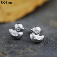 Free Shipping Fashion 925 Sterling Silver Cute Little Duck Stud Earrings Jewelry Pendientes Brincos