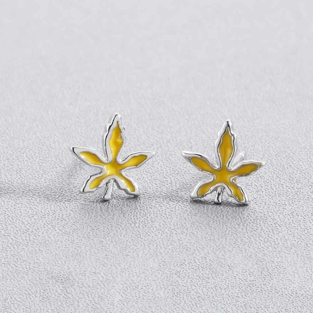 Cxwind 두 스타일 디자인 잎 가을 단풍 나무 잎 스터드 귀걸이 여자 아이 귀여운 귀 보석 생일 선물 brincos