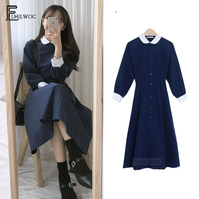 Peter Pan Collar Dresses Hot Sales Women Japan Korean Temperament Preppy Style Girls Lady Blue A Line Vintage Dress Long 6110 1