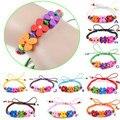 1Pcs Children Rainbow Colorful Flower Wood Bead Charm Bracelet Cuff Wristband Kids Boys Girls Bangle