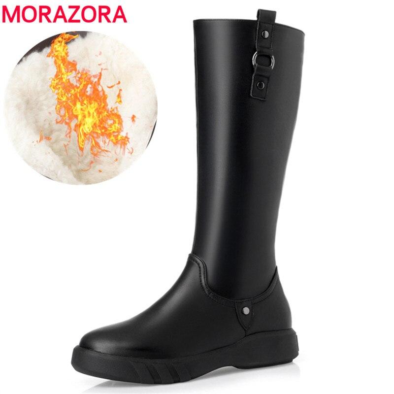 MORAZORA 2019 أعلى جودة الصوف الطبيعي حذاء برقبة للركبة النساء جلد طبيعي سستة بسيطة حذاء مسطح الدافئة الشتاء الثلوج-في بوت للركبة من أحذية على  مجموعة 1