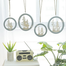 Nordic Style Girls Room Bedroom Wall Three-Dimensional Round Elk Ornament Wall Hangings Christmas Home Decorations