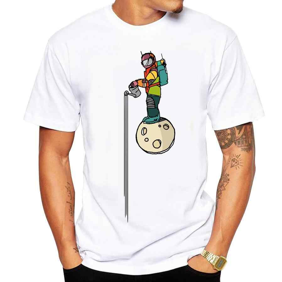 summer short sleeve cool Colored astronaut gardener space art drawing printed men t shirt cotton comfortable casual men t-shirt