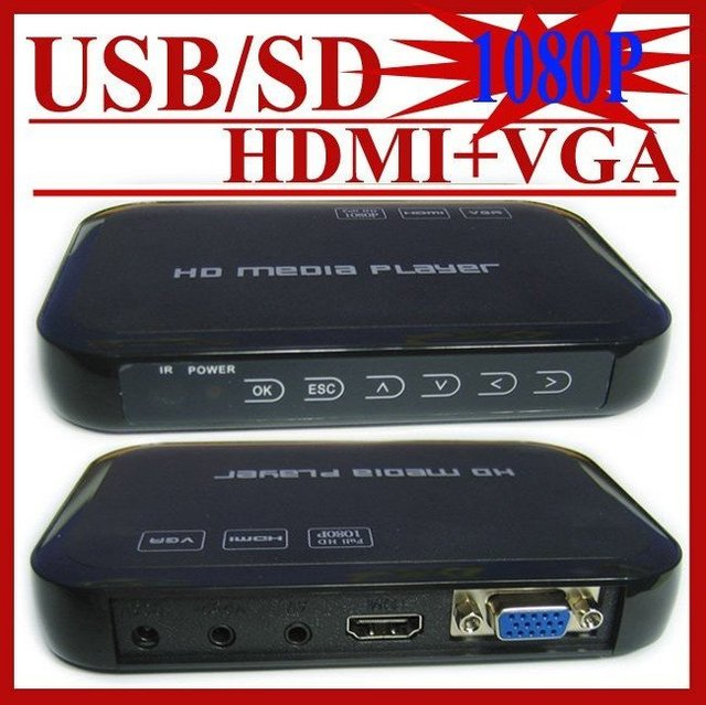 USB Full HD 1080P HDD Media Player HDMI VGA MKV H.264 SD