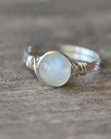 Silver Wire Wrapped Moonstone Ring 2pcs Handmade Sterling Silver Retro Fashion Unique Women Gift Crystal Jewelry