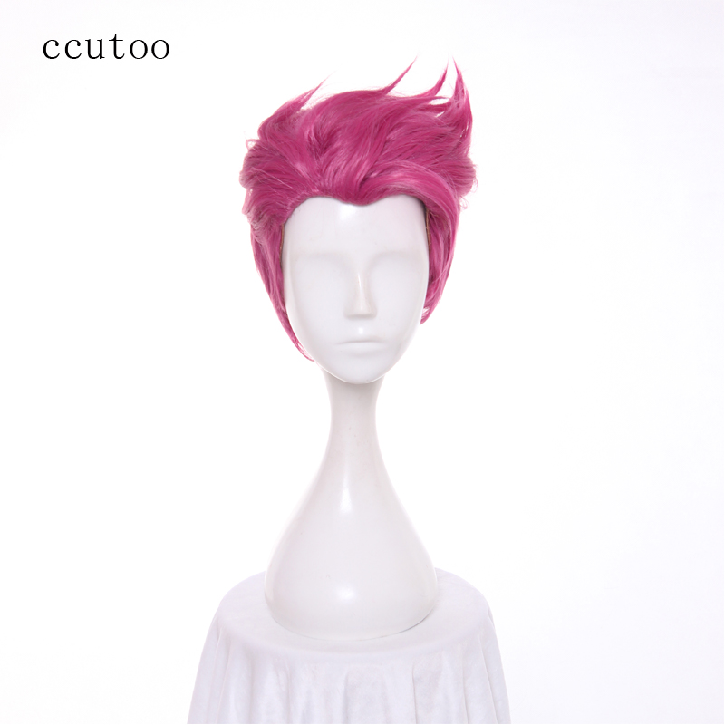 ccutoo Game Overwatch OW Zarya Rose Pink Short Synthetic Hair Cosplay Wig Heat Resistance Fiber