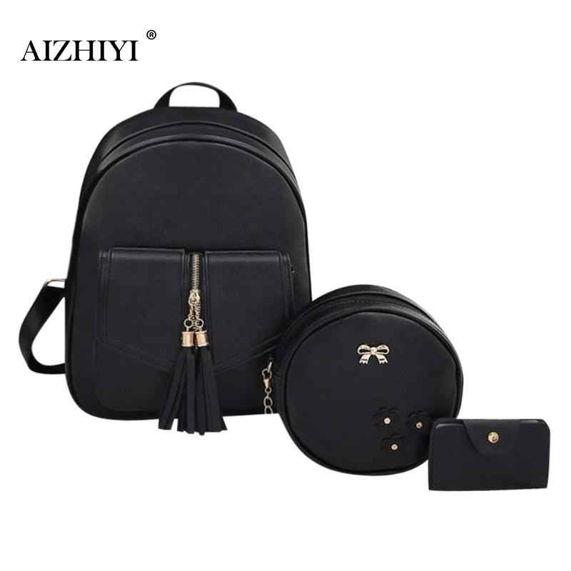 8e6a5f0725e9 Detail Feedback Questions about 3pcs Set Women Bow knot PU Leather Backpacks  Fashion Tassels Round Shoulder Crossbody Bag Chain Zipper Composite Card Bag  ...