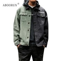 ABOORUN Men's Harajuku Denim Jacket Patchwork Printed Jean Jacket Men Spring Autumn Coat Plus Size 5XL x1795