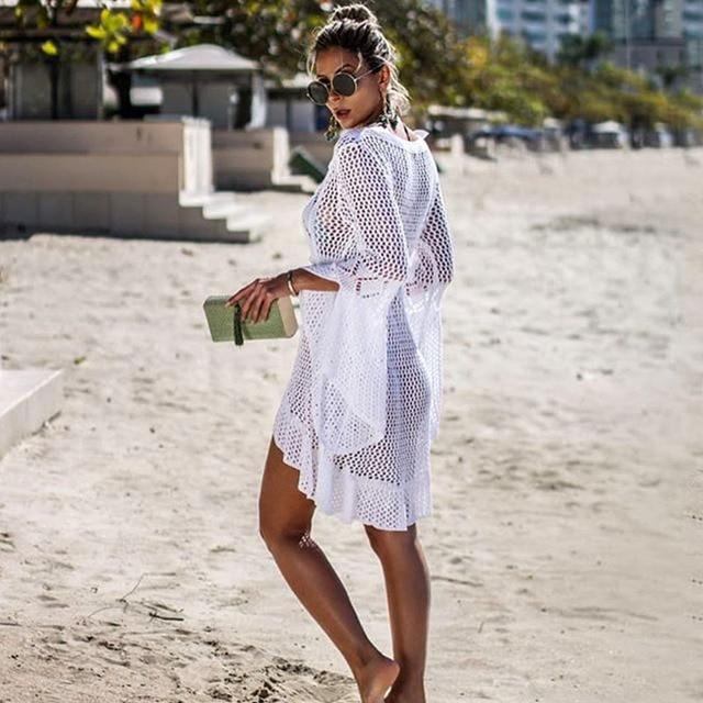 Long Sleeved Pareo Crochet Beach Cover Up 2