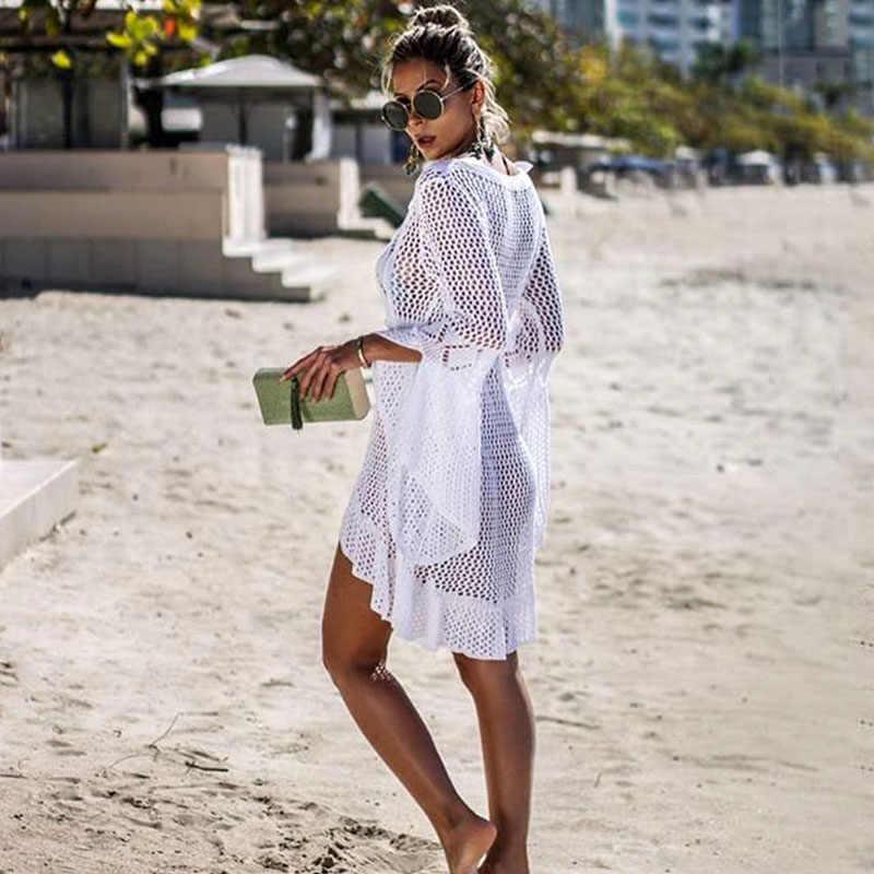 BLESSKISS Pareo okrycie plażowe się sukienka kobiety tunika lato dzianiny szydełka bikini z długim rękawem strój kąpielowy Outlet siatki Coverups spódnica