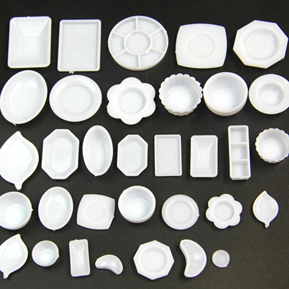 33Pcs Dollhouse Miniature Tableware Plasti-c Plate Dishes Set Mini Food The Goods Tableware Model Set
