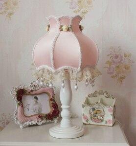 Настольная лампа маленького размера, 41 см, европейский стиль, кружевная, для свадьбы, сада, ткань, тонкая, романтичная, прикроватная лампа в К...