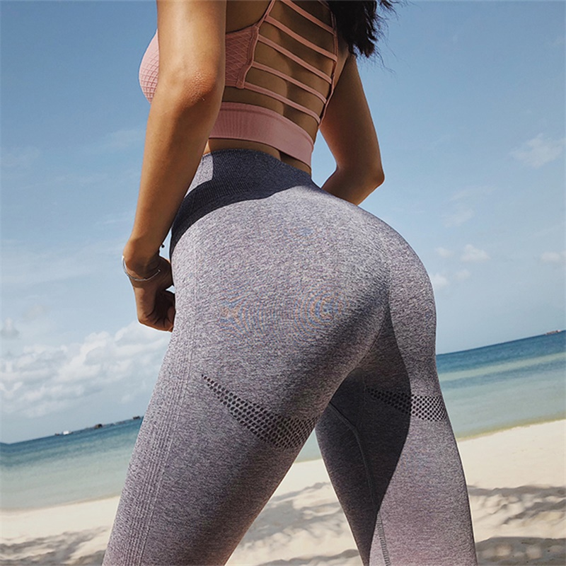 98cf6202e208d New Stretchy Gym Sexy Seamless Leggings Tummy Control Pink Pants High Waist  Sporting Leggings Running Women Athleisure Pants -in Leggings from Women's  ...