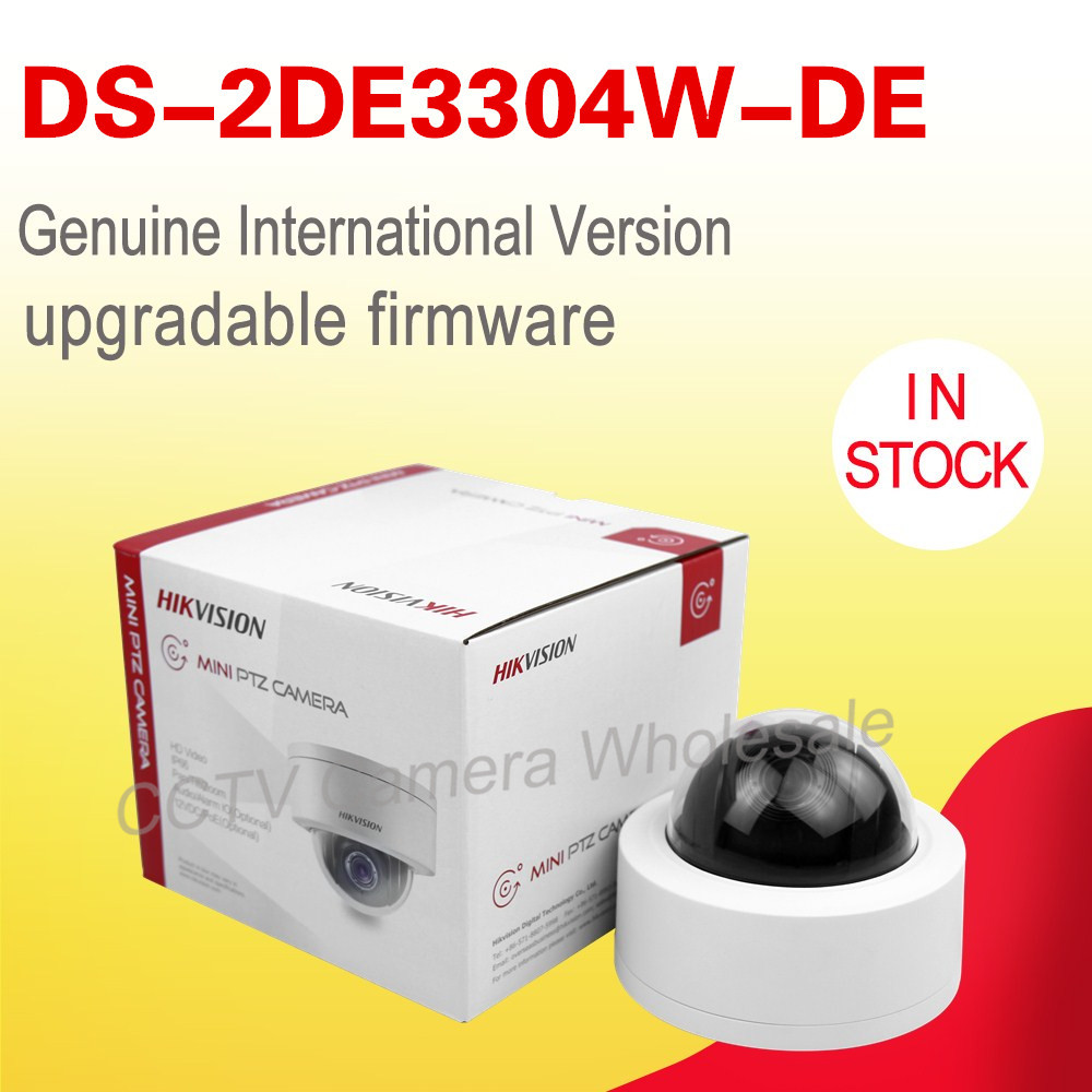 imágenes para Inglés versión DS-2DE3304W-DE POE 3MP Red Mini Cámara PTZ zoom óptico 4X IP67 IK10 no IR IP CCTV cámara