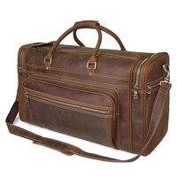 Для мужчин большой Ёмкость натуральная кожа сумка Прочный Crazy Horse кожаная дорожная сумка из натуральной кожи большой выходные сумка