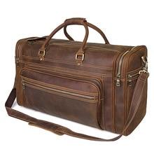 Men's Big Capacity Genuine Leather Travel Bag Durable Crazy Horse Leather Travel Duffel Real leather Large Shoulder Weekend bag цена 2017