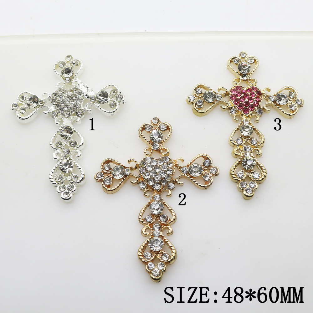 10pcs 3 Colors 60*48mm Cross Pendant Shapes Metal Rhinestone Jewelry Diy Accessories for Caps& Clothing Decoration Component