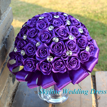 Real Photos Stunning Wedding flowers Yellow Purple Bridesmaid Bridal Bouquets artificial Angel Design Wedding Bouquet
