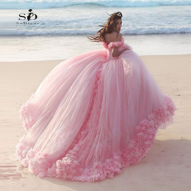 Beach Bride Dress Pink Wedding Dress Ball Gown 2017 SoDigne Wedding ...