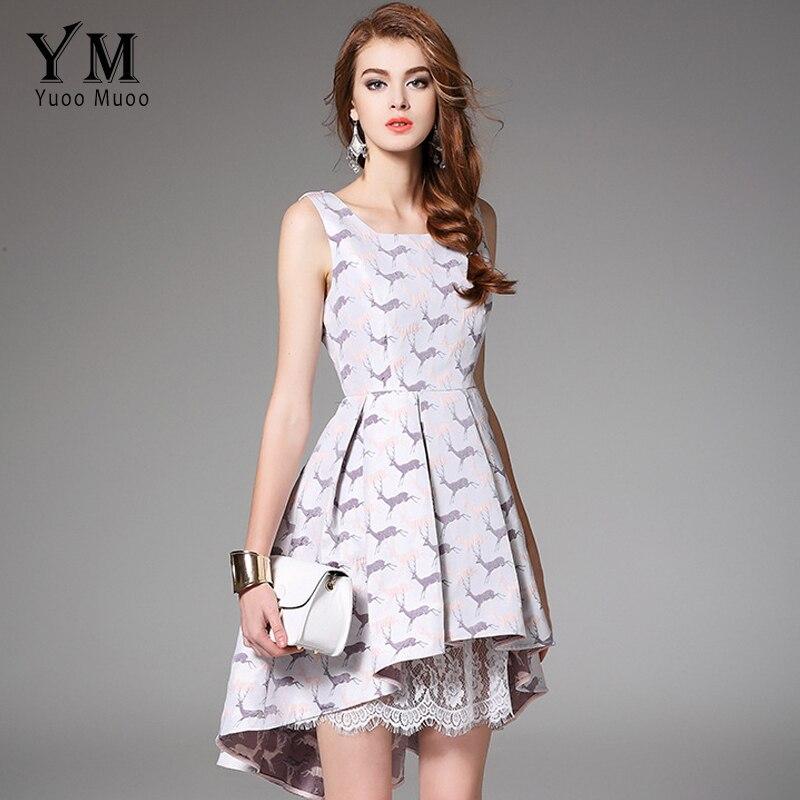 5490f5c501 YuooMuoo 2018 New Arrival Party Dress Kobiety European Fashion Trąbka  Słodkie Koronki Patchwork Sukienka Bez Rękawów Słodkie Kobiety Odzież