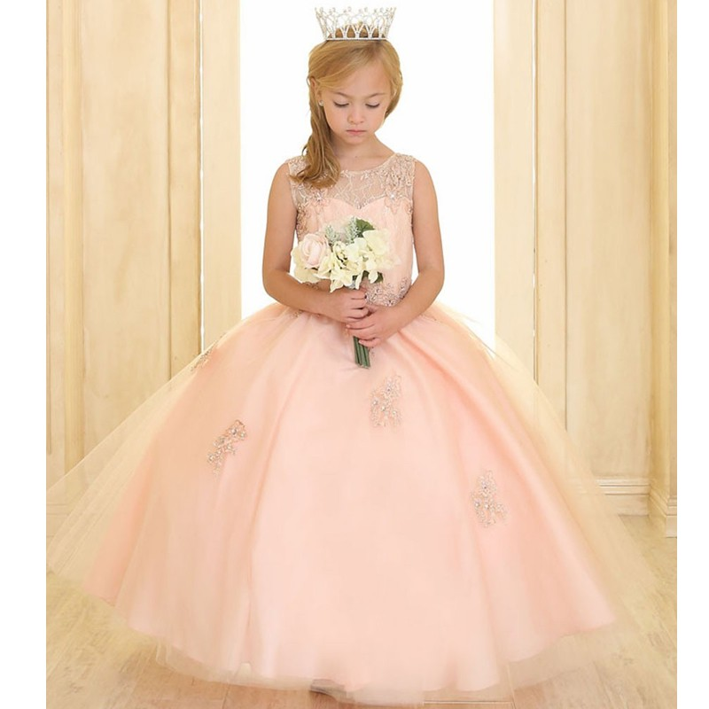 Flower     Girl     Dresses   for Weddings Ball Gown Scoop Tulle Appliques Beaded First Communion   Dresses   For Little   Girls