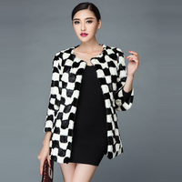 New arrival 2019 fight mink fur coat medium long women's mink black and white lattice slim overcoat