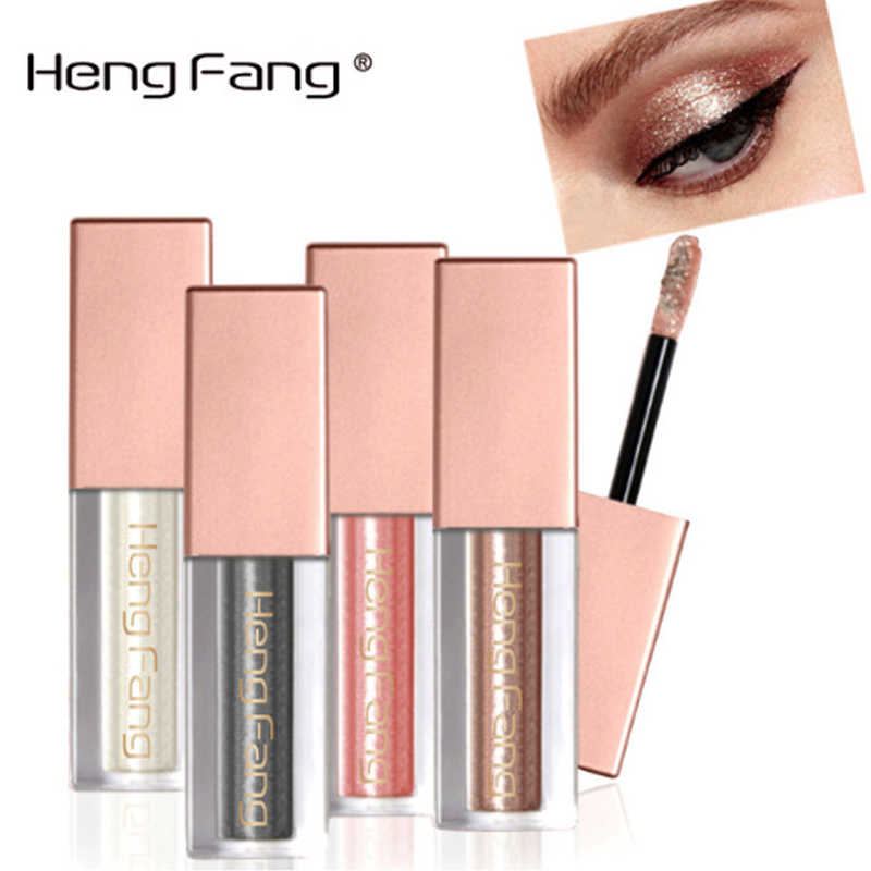 Heng Fang New Liquid Waterproof Diamond Glitter Eyeshadow Makeup Cosmetics White Copper Colors Shimmer Eye Shadows Beauty