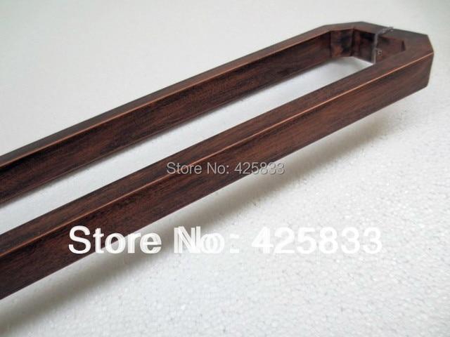 1pair Luxury 600mm Red Bronze Stainless Steel Big Glass Door Handles Square Tube Kitchen Cabinet Pulls