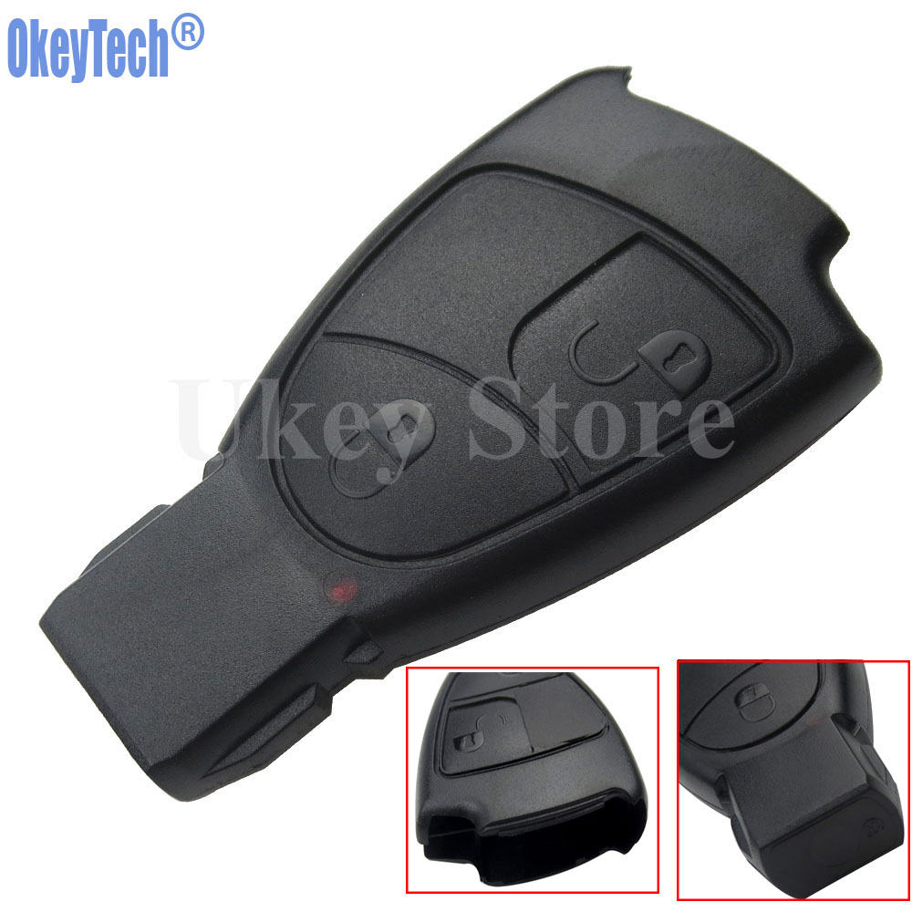 OkeyTech Soft 2 Buttons Car Remote Key Case Shell for MB Mercedes Benz C E ML S SL SLK CLK AMG Smart Key Case Replacement Fob