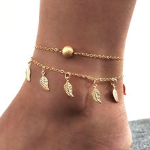 Summer Beach 2 Color Double Leaves Pendant Anklet Foot Chain Bohemian Handmade Beads Anklets Gothic Boho Jewelry