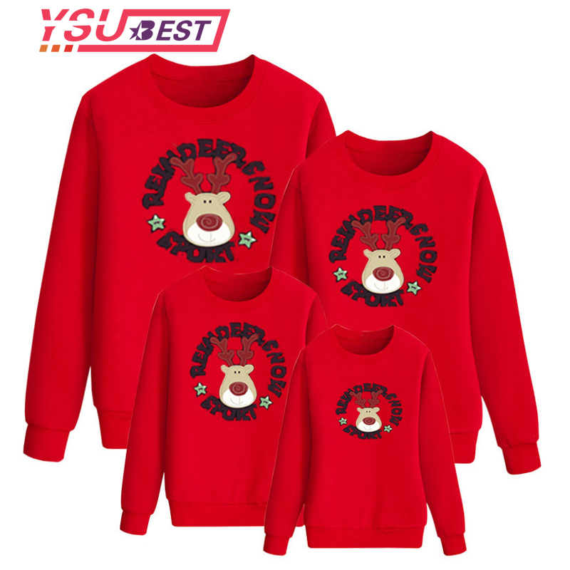 2018 Christmas Family Look Deer Mommy and Me Clothes Matching Family Clothing Sets Winter Mother Daughter Father Baby T-shirt цена