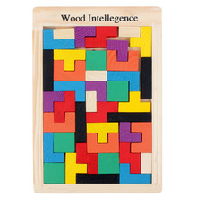 Wooden Puzzle Made of Pine Wood Tetris Color Shape Building Baby Early Education Cognitive Learning Toys