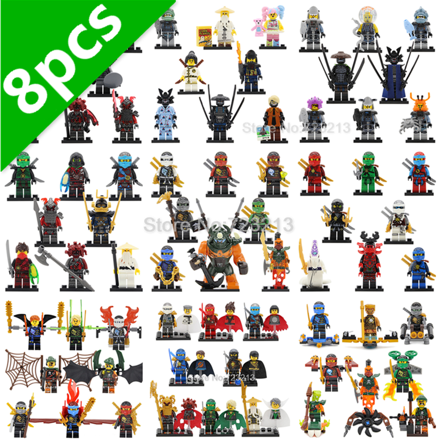 Ninja 8pcs/lot Jay KAI Nya Cole Figure Set Pythor Koze Wu Krux Lloyd NEURO The Wei Snake Samurai X Vermin Building Blocks Toys пожарный шкаф блок управления kai wei bxk8050 dip