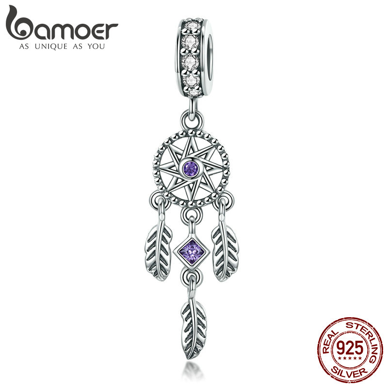 Bamoer venda quente 100% 925 pingente de prata esterlina sonho apanhador charme ajuste feminino charme pulseiras & colares jóias presente scc841