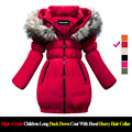 High Price High Quality Girls Hooded Wool Jacket  With Heavy Hair Collar Long Girls Winter Coat Jacket Kids Clothing Outwear