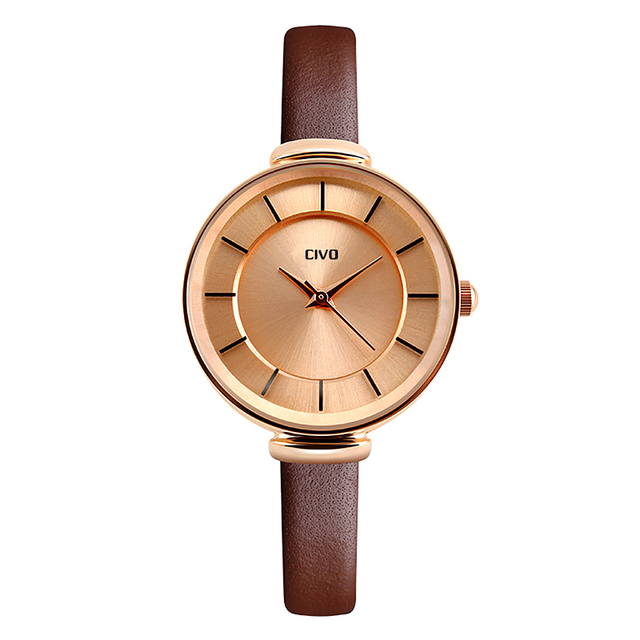 CIVO 2018 New Brown Leather Strap Watches Women Simple Casual Ladies Quartz Watch Clock Ladies Bracelet Watches Relogio Feminino