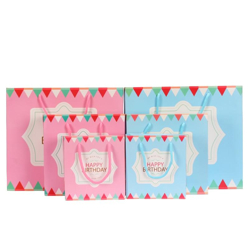 Feliz Cumpleaños bolsa de regalo de papel Kraft, bolsas de regalo del festival,