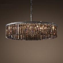 Американский RH стеклянный Хрустальный Потолочный подвесной светильник, светодиодный Круглый круглый потолочный светильник для гостиной, столовой, ретро