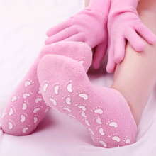 1 set Reusable SPA Gel Socks & gloves Moisturizing whitening exfoliating velvet smooth beauty hand foot care silicone socks