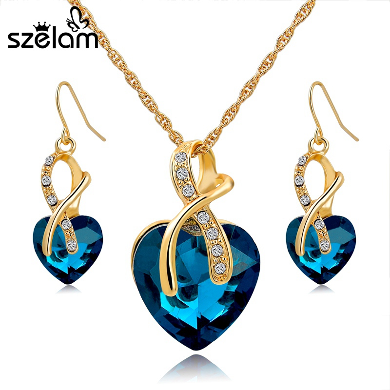 SZELAM 2016 Crystal Heart Necklace Earrings Jewellery Set for Women Bridal Wedding Accessories SET140044