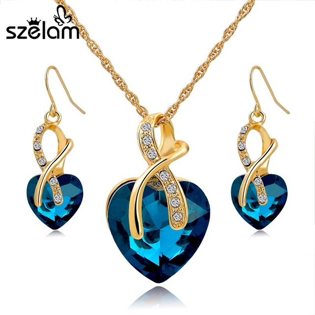5fff10f681f SZELAM 2019 Crystal Heart Necklace Earrings Jewellery Set for Women Bridal  Wedding Accessories SET140044